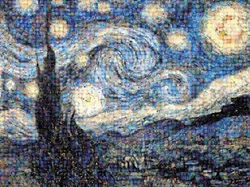 Starry Night, Photomosaic Van Gogh Starry Night Photomosaic
