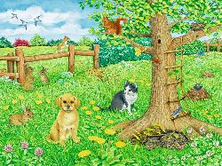 Animals on the Spring Meadow Spring Frame Puzzle