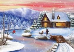 Christmas Night At The Chalet Cottage / Cabin Jigsaw Puzzle
