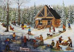 Winter at the Log Cabin Cottage / Cabin Jigsaw Puzzle