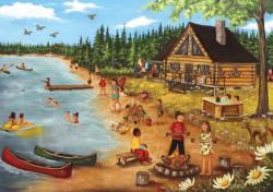 Summer At The Lodge Cabin Cottage / Cabin Jigsaw Puzzle