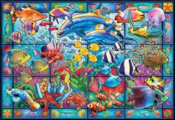 Stained Glass Aquarium - Scratch and Dent Turtles Jigsaw Puzzle