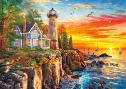 Rocky Cliff Lighthouse Sunrise / Sunset Large Piece