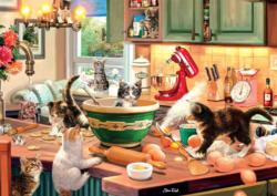 Kitten Kitchen Capers Domestic Scene Large Piece