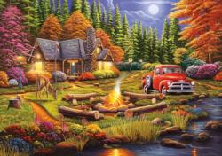 Evening at Camp Cottage / Cabin Jigsaw Puzzle