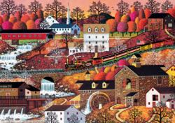 Waterfall Valley Folk Art Jigsaw Puzzle