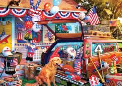 Patriotic Road Trip Americana & Folk Art Jigsaw Puzzle