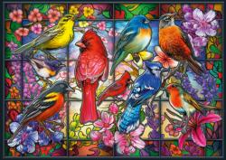 Stained Glass Songbirds Birds Jigsaw Puzzle