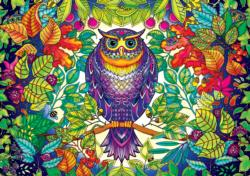 SECRET GARDEN:  Johanna Basford FOREST OWL Adult Coloring Pages Included Jigsaw Puzzle