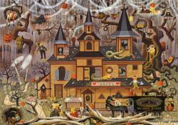 Trick or Treat Hotel Folk Art Jigsaw Puzzle