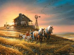 For Amber Waves of Grain Sunrise / Sunset Jigsaw Puzzle
