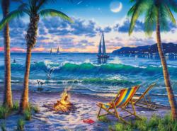 Coastal Twilight Folk Art Jigsaw Puzzle