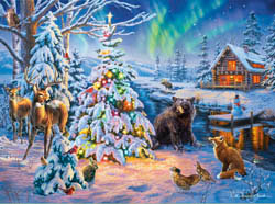 Woodland Christmas Americana & Folk Art Jigsaw Puzzle