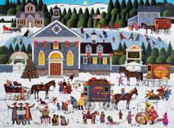 Churchyard Christmas Folk Art Jigsaw Puzzle