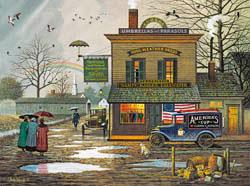 Dampy Donuts on a Dreary Day Americana & Folk Art Jigsaw Puzzle