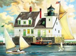 Rockland Breakwater Light Seascape / Coastal Living Jigsaw Puzzle