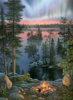 Night Fire Lakes / Rivers / Streams Jigsaw Puzzle