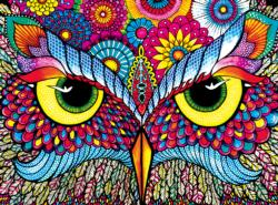 Owl Eyes (Vivid Collection) Adult Coloring Pages Included Jigsaw Puzzle