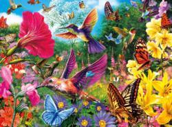 Hummingbird Garden (Vivid) Garden Jigsaw Puzzle