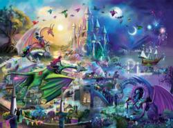Dragon Race Into the Night Fireworks Jigsaw Puzzle