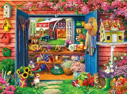 Farm Flower Shed Flowers Jigsaw Puzzle