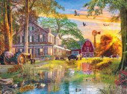 Sunset at the Farm Sunrise / Sunset Jigsaw Puzzle