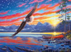 Star Spangled Sunset Eagles Jigsaw Puzzle
