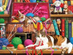 Comfy Spot (The Cats of Charles Wysocki) Books / Library Jigsaw Puzzle