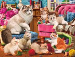 Sewing Kittens Domestic Scene Jigsaw Puzzle