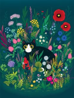 Summer Cat Flowers Jigsaw Puzzle