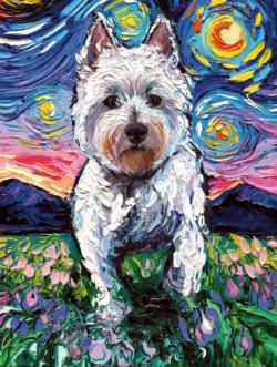 Westie Night Dogs Jigsaw Puzzle