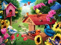 Garden Birdhouse - North American Songbirds Birds Jigsaw Puzzle