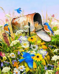 Blue Birds Flowers Jigsaw Puzzle