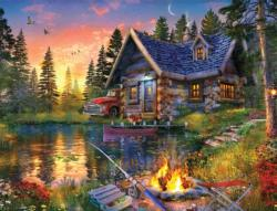 Sun Kissed Cabin Sunrise / Sunset Jigsaw Puzzle