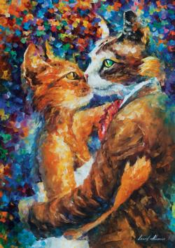 Dance Of The Cats In Love Fantasy Jigsaw Puzzle