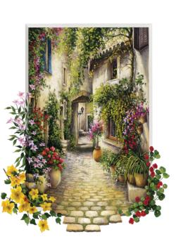 Small Flower Village Flowers Jigsaw Puzzle