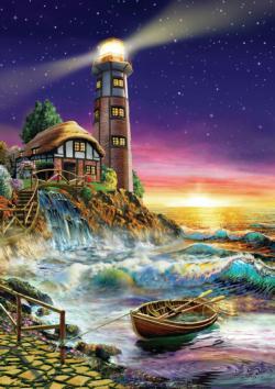 Sunset By The Lighthouse Seascape / Coastal Living Jigsaw Puzzle