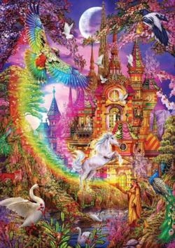 Rainbow Castle Unicorns Jigsaw Puzzle