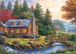 Autumn On The Hills Cottage / Cabin Jigsaw Puzzle