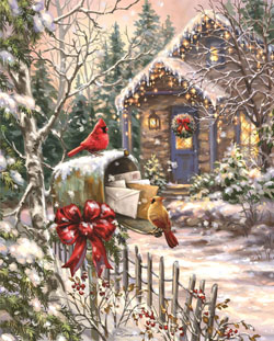 Cardinal Cottage Christmas Jigsaw Puzzle
