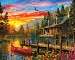 Cabin Evening Sunset Sunrise / Sunset Jigsaw Puzzle
