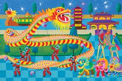 Hometown Collection - Dragon Dance Folk Art Jigsaw Puzzle