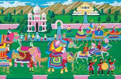 Hometown Collection - Elephant Festival Folk Art Jigsaw Puzzle