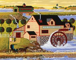 Hometown Collection - Old Cider Mill Folk Art Jigsaw Puzzle