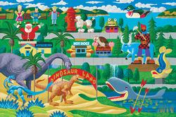Hometown Collection - Roadside Icons Folk Art Jigsaw Puzzle
