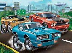 Muscle Cars Bridges Children's Puzzles