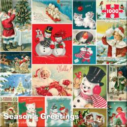 Season's Greetings Snowman Jigsaw Puzzle