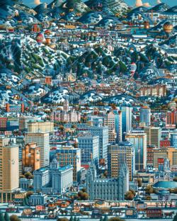 Salt Lake Winter Folk Art Jigsaw Puzzle