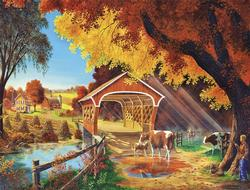 Autumn Morning Cows Large Piece