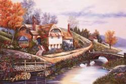 Cottage By The River Fall Jigsaw Puzzle